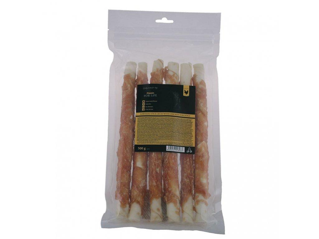 ffl dog treat rawhide stick 28cm with chicken 500g h L