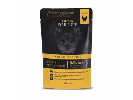 ffl dog pouch adult chicken with ham in jelly 85g h L
