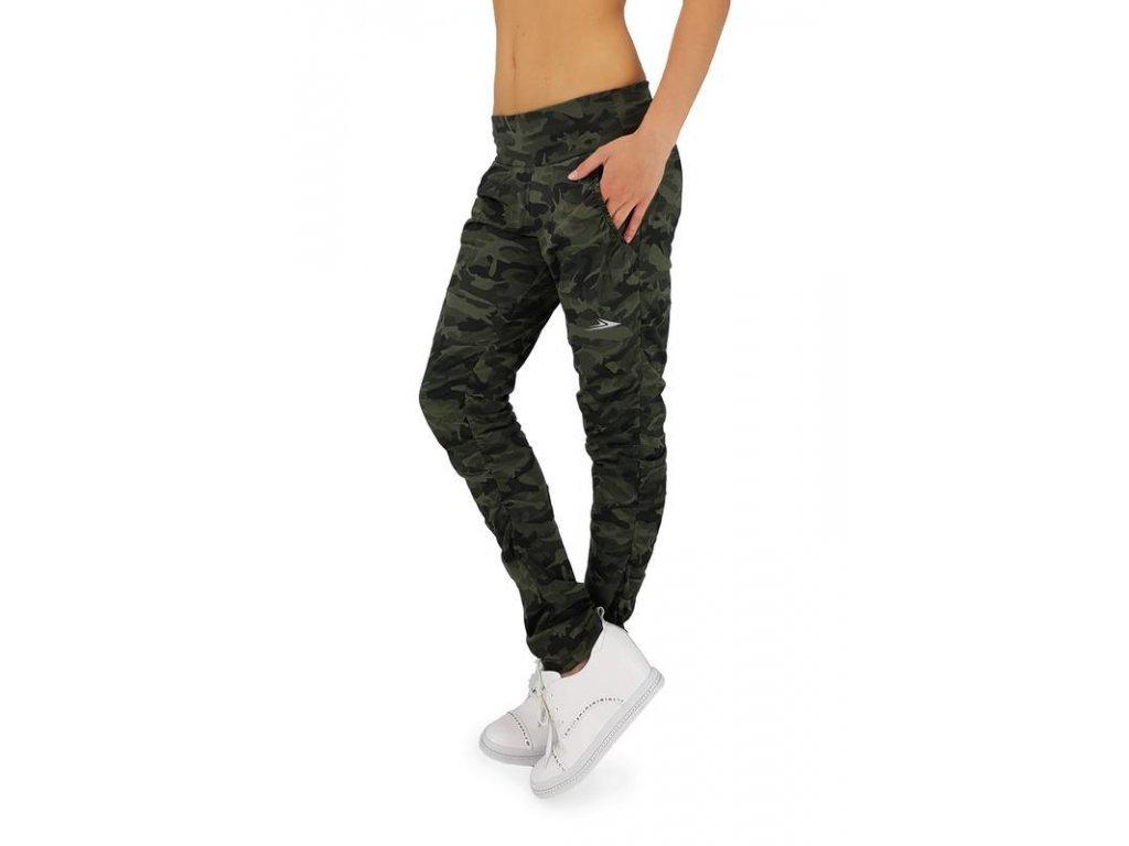 Dámské bavlněné kalhoty maskáčové zelené LK723, L