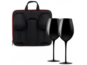 wine case with glasses divinto black 13230