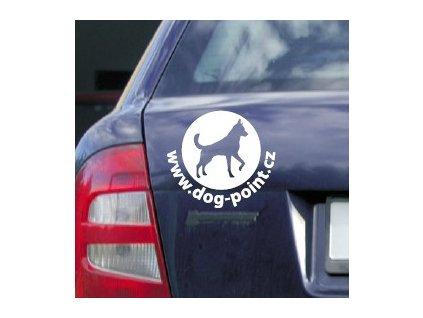 """Nálepka na auto """"Dogpoint"""" - bílá velká"""