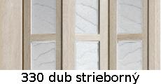 harmonikové dvere Crystalline Glass: farba 330 dub strieborný