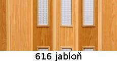 harmonikové dvere Pioneer Glass: farba 616 jabloň