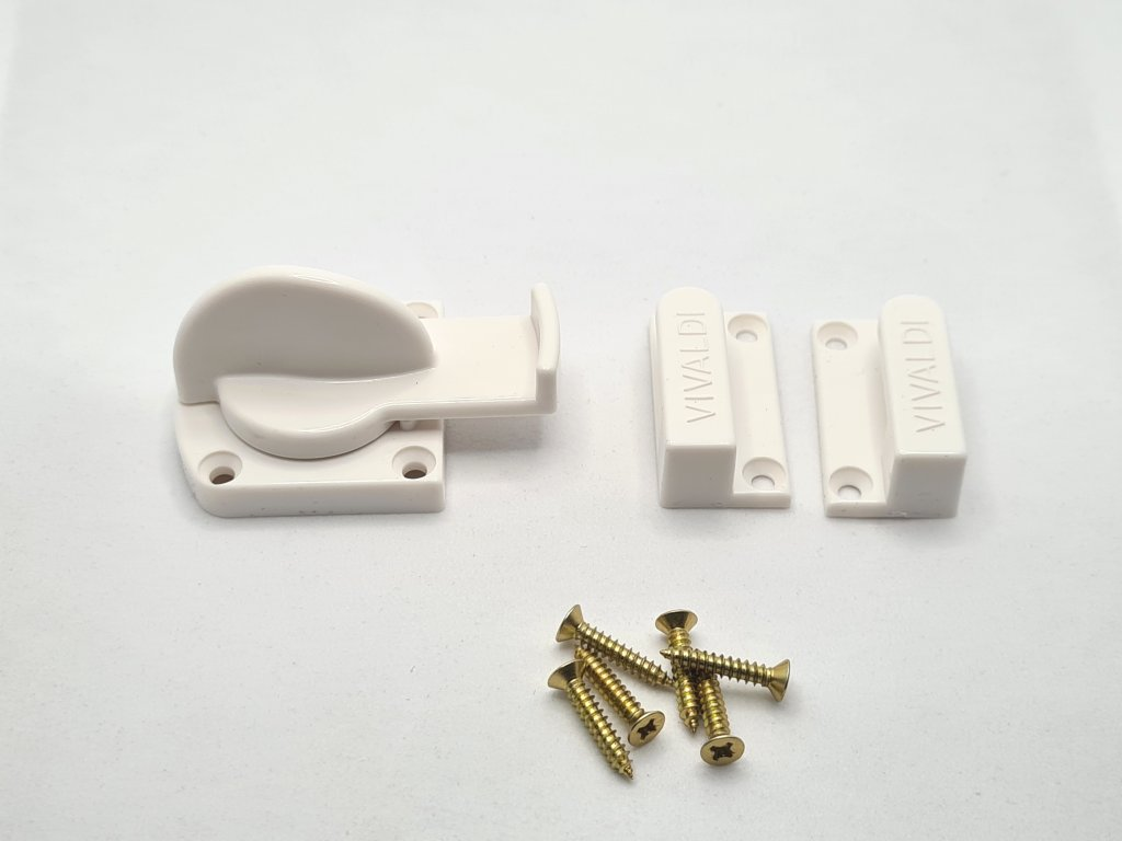 Dodatočný plastový zámok pre harmonikové dvere - biely