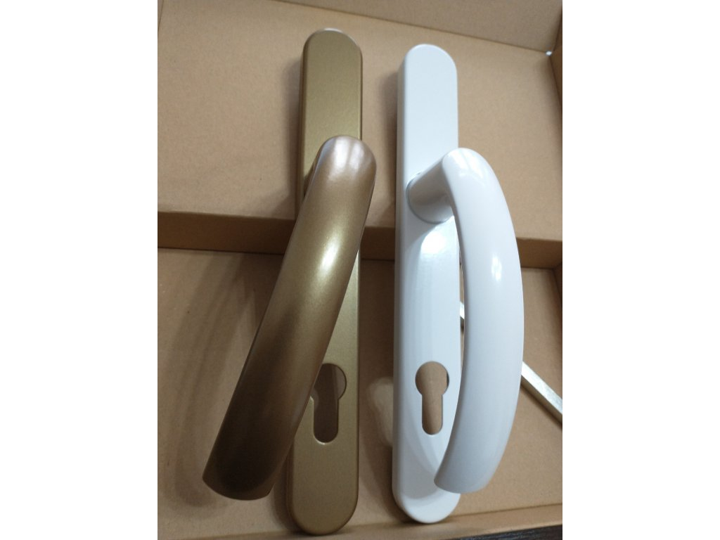 Kľučka pre PVC vchodové dvere GOLD / BIELA - JOWISZ