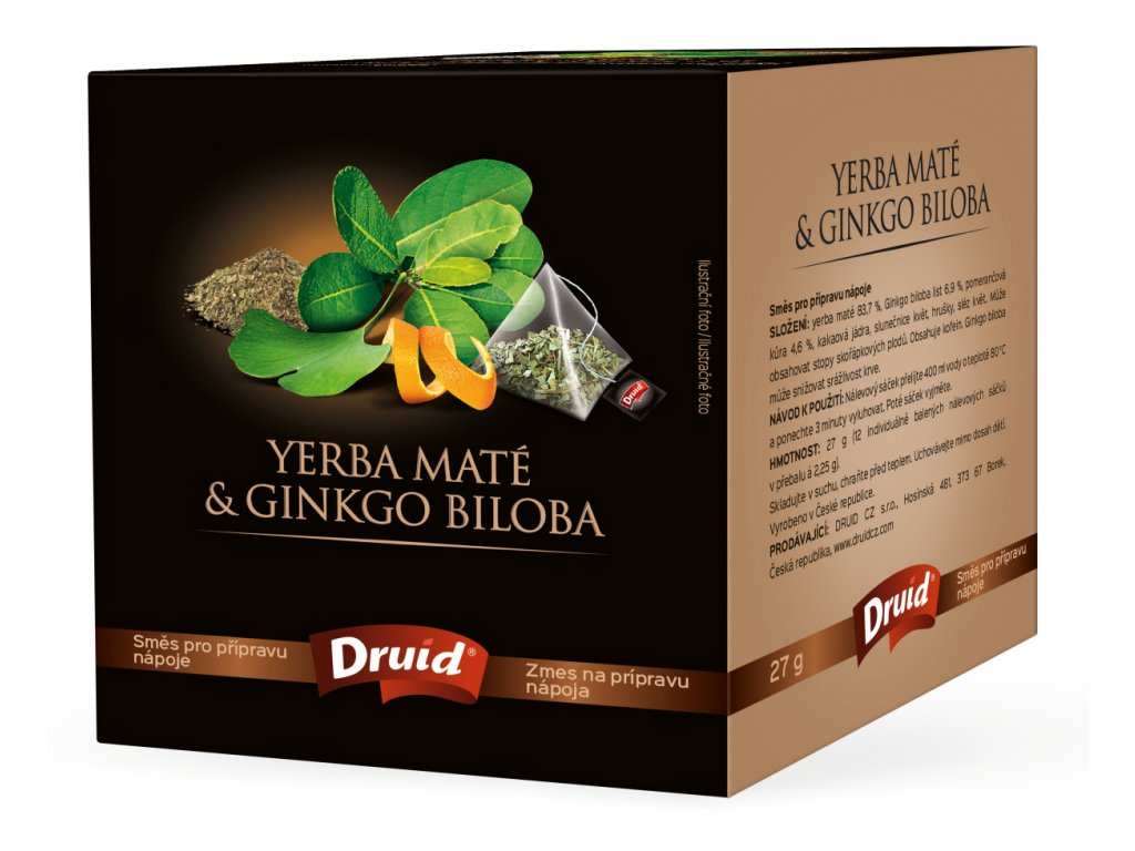 Yerba Maté a Ginkgo Biloba směs pro přípravu nápoje DRUID