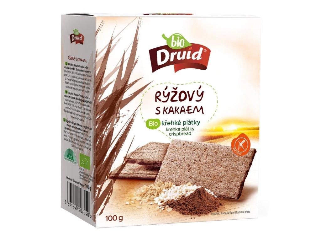Rýžový s kakaem BIO křehké plátky DRUID 100 g