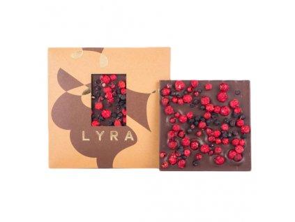 Hořká čokoláda s ovocem, borůvka, rybíz LYRA 80g