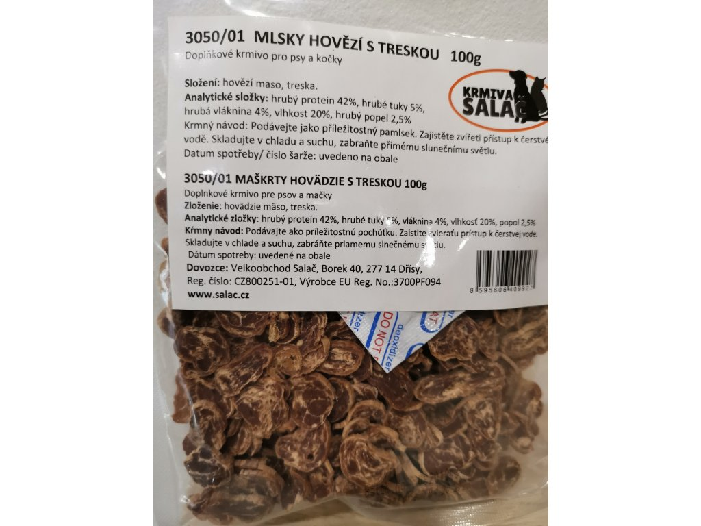 Mlsky hovězí s treskou 100 g