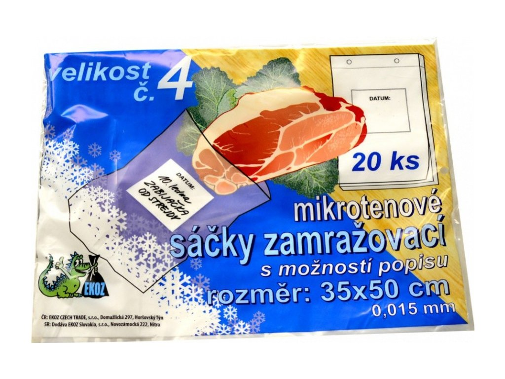 Zamrazovacie vrecká č. 4, transparentné, 35 x 50 cm, 20ks