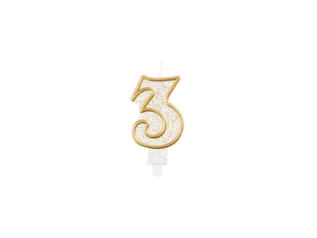 Sviečka tortová číslo 3, zlatá