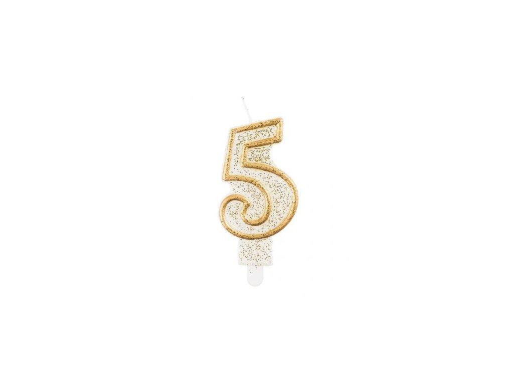 Sviečka tortová číslo 5, zlatá
