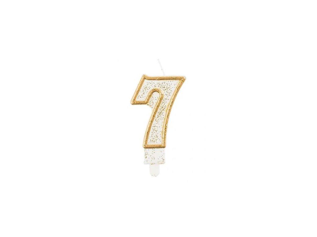 Sviečka tortová číslo 7, zlatá