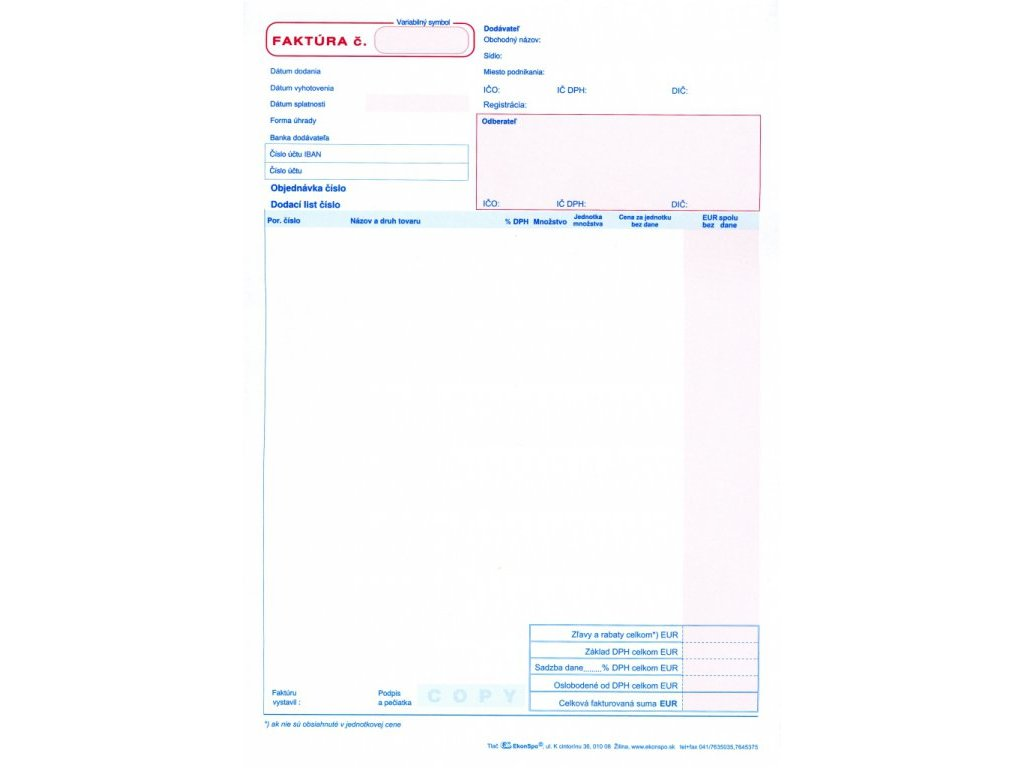 Faktúra, samoprepis, A4 blok , ES 1006
