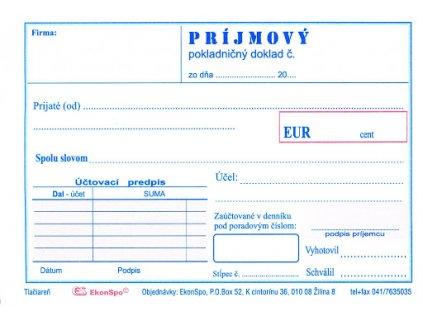 prijmovy pokladnicny doklad bez dph