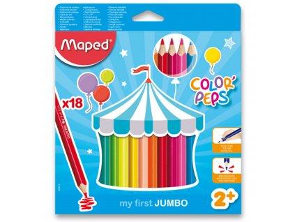 "Pastelky trojhranné MAPED ""COLOR PEPS JUMBO"", 18 ks"