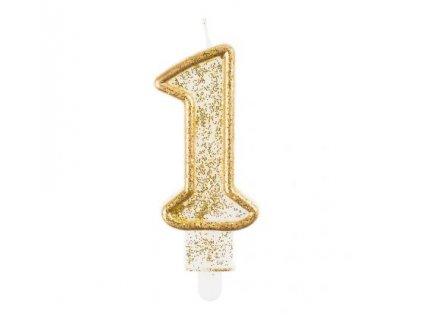 Sviečka tortová číslo 1, zlatá