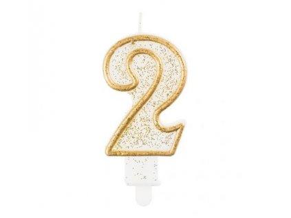 Sviečka tortová číslo 2, zlatá