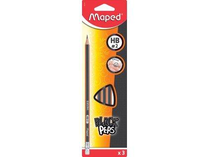maped crayon black apos peps hb avec gomme etui brochable cartonne de 3 pieces