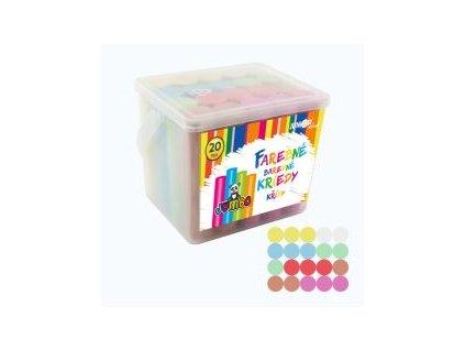 kriedy farebne chodnikove okruhle 20 ks plastovy box
