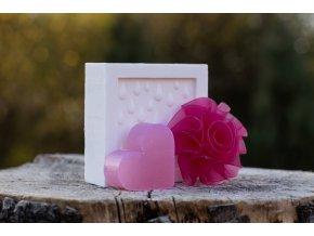 Mýdlo kostka zdobená + růže + srdce