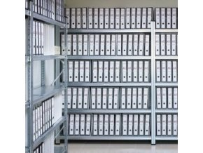 Regál do archivu výška 1,576m s kovovými policemi
