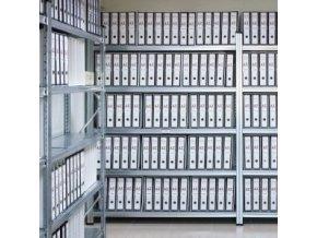 Regál do archivu výška 2,5m s kovovými policemi