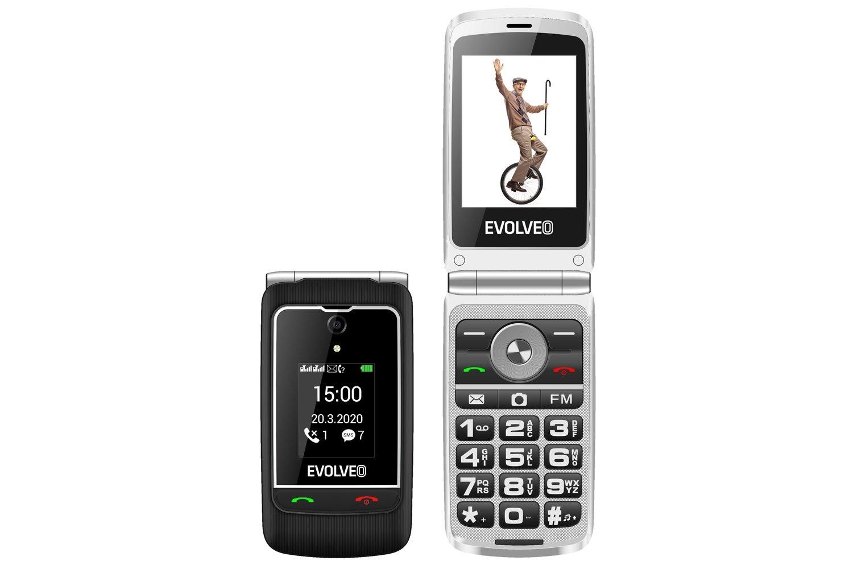 """EVOLVEO EasyPhone FG, vyklápěcí mobilní telefon 2,8"""" pro seniory s nabíjecím stojánkem (černá barva)"""