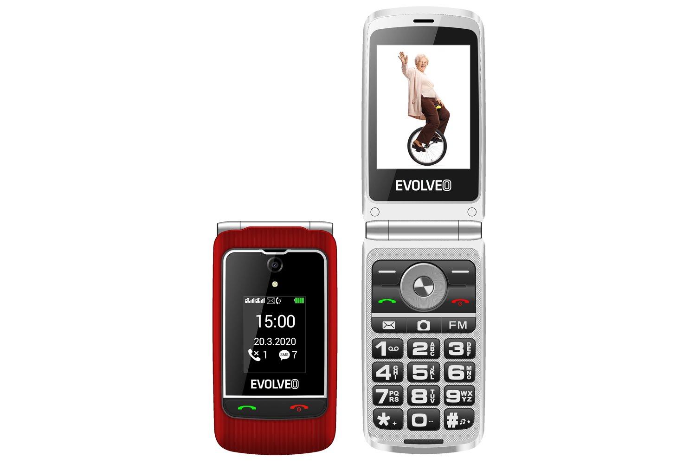 """EVOLVEO EasyPhone FG, vyklápěcí mobilní telefon 2,8"""" pro seniory s nabíjecím stojánkem (červená barv"""
