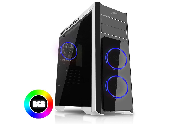 EVOLVEO Ray 4R, case ATX, 3x RGB rainbow ring ventilátor