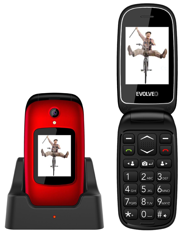 EVOLVEO EasyPhone FD, vyklápěcí mobilní telefon pro seniory s nabíjecím stojánkem (červená barva)