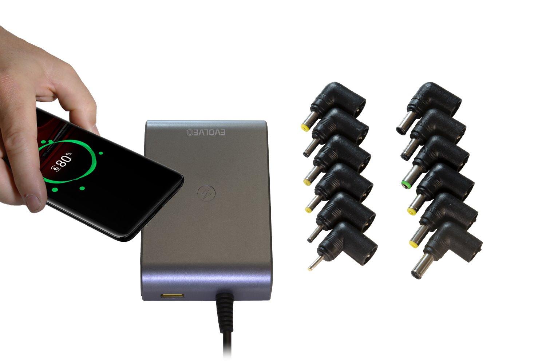 EVOLVEO Chargee C90, 90W napájecí zdroj pro notebooky s bezdrátovým nabíjením