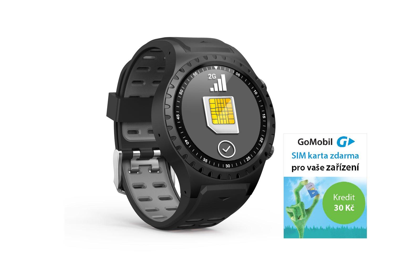 EVOLVEO SportWatch M1S GPS SIM, chytré sportovní hodinky s podporou GSM SIM, šedočerný pásek