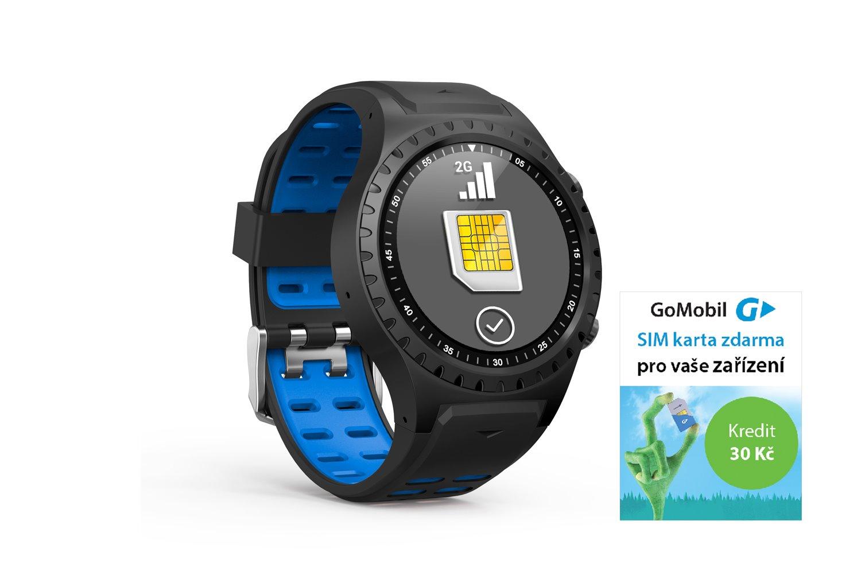 EVOLVEO SportWatch M1S GPS SIM, chytré sportovní hodinky s podporou GSM SIM, modročerný pásek