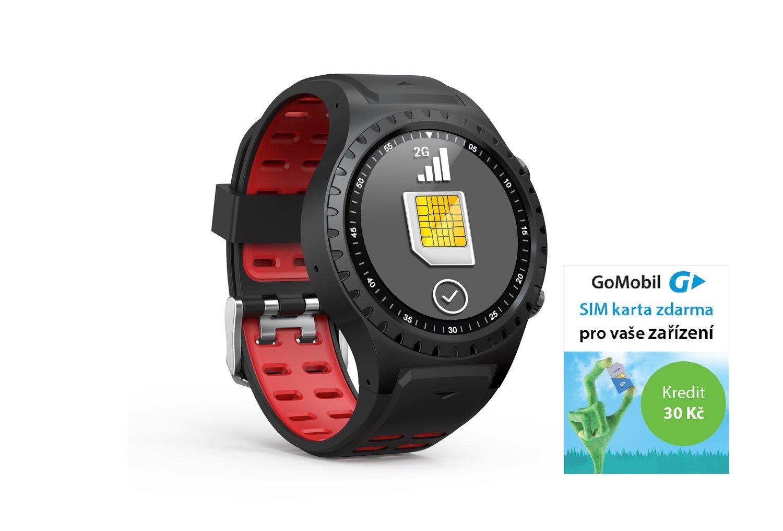 EVOLVEO SportWatch M1S GPS SIM, chytré sportovní hodinky s podporou GSM SIM, červenočerný pásek