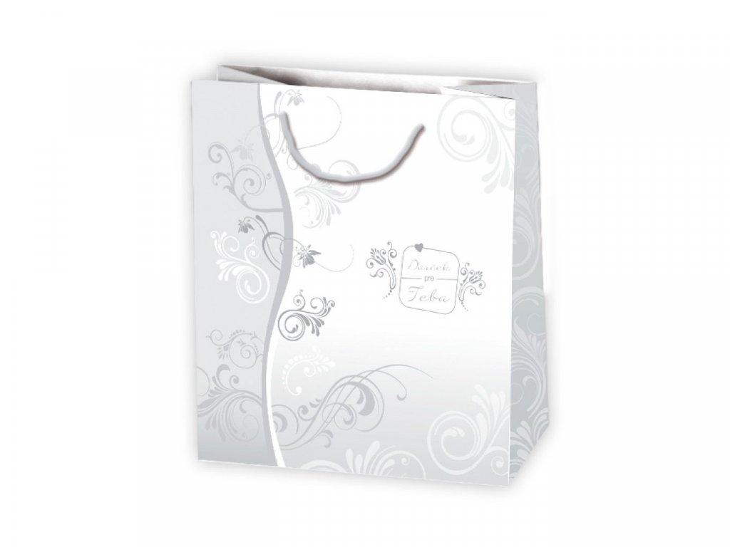 Biele papierové tašky s ornamentami, elegantné tašky, darčekové tašky biele, folklórny vzor, darček pre teba.