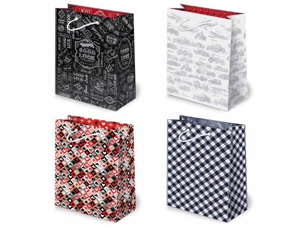 Darčekové tašky pre mužov, darčekové tašky pre pánov. Biela taška s grafikou, čierna taška s grafikou, dizajn karty, modrý károvaný dizajn.