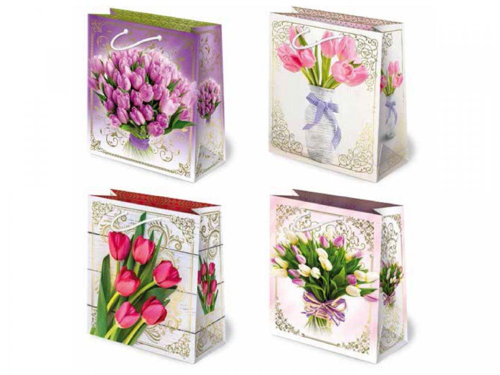 Darčekové tašky tulipány - ružové tulipány, biele tulipány, fialové tulipány, tulipány kytica, tulipány vo váze.