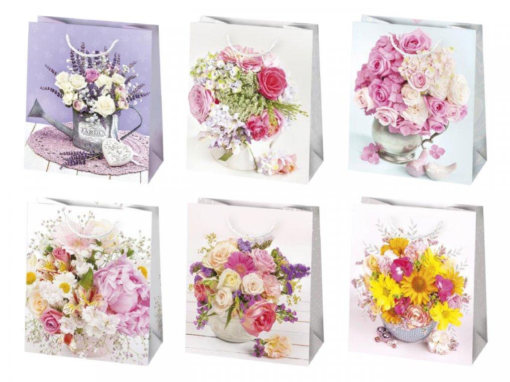 Kvetinové darčekové tašky - kvety vo váze, kytica vo váze - mix kvetov - biele ruže, ružové ruže, levanduľa, biele frézie, biele gerbery, mix kvetov.
