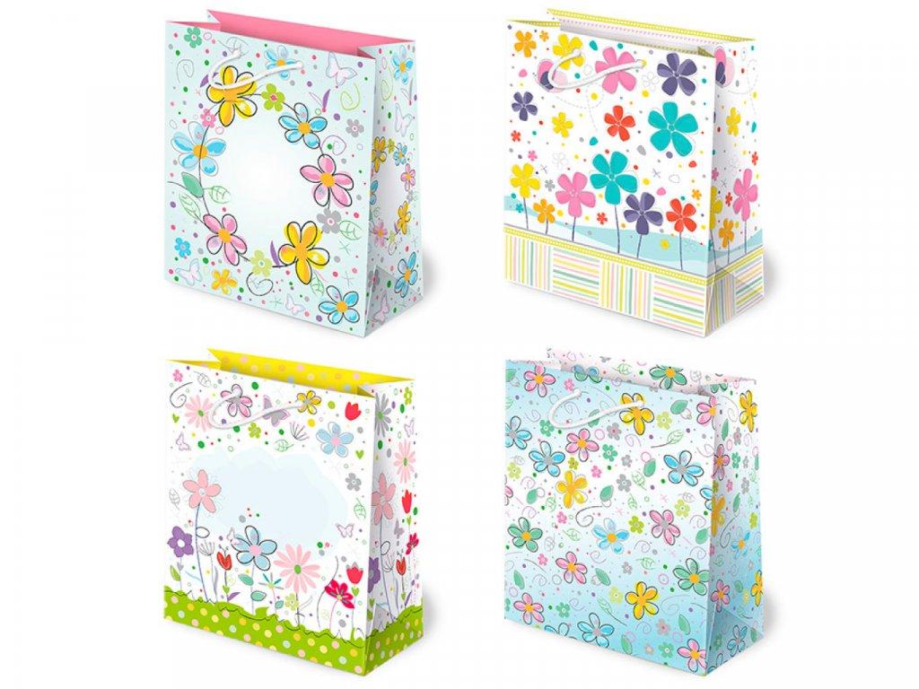Darčekové tašky detské, taška pre deti, detský motív, farebné tašky. Kvetinové darčekové tašky, kreslené kvety.