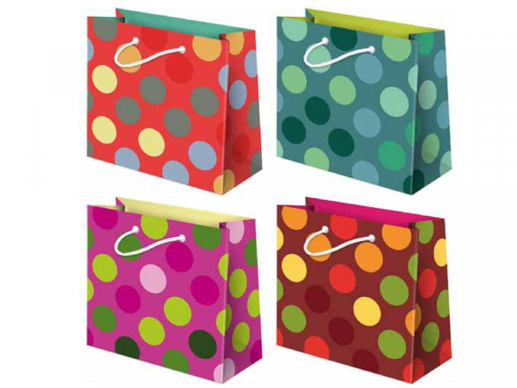 Papierová darčeková taška bodky, bodkovaný motív. Mix farieb.