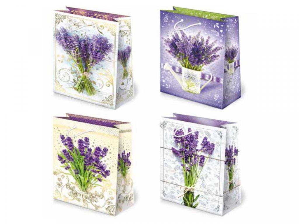 Darčeková taška so vzorom levandule, levanduľový motív, levanduľová taška, kytice levandule.