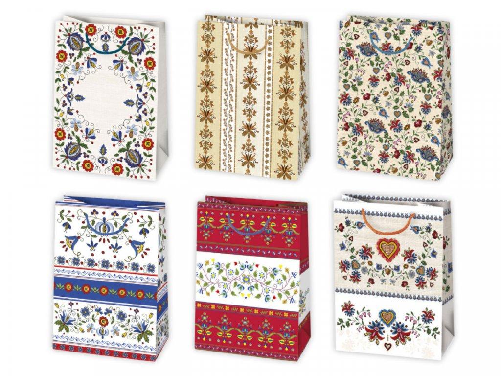 Darčekové tašky s ľudovým motívom vhodné na folklórne svadby, folklórne festivaly, určené na darčeky pre ženy, darčeky pre mužov, darčeky k narodeninám, darčeky k meninám, k životnému jubileu