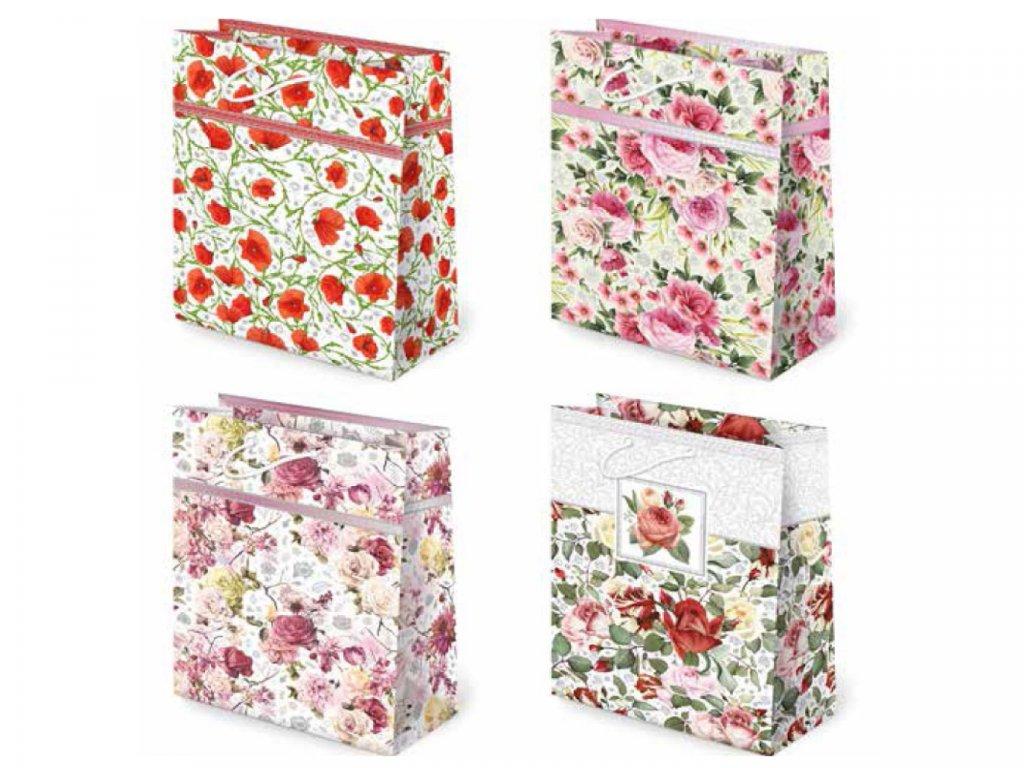 Kvetinové darčekové tašky - kvetinové vzory: červený mak, ružové ruže, ružové ruže/žlté ruže, červené ruže/ružové ruže/žlté ruže. Darčekové tašky ruže.