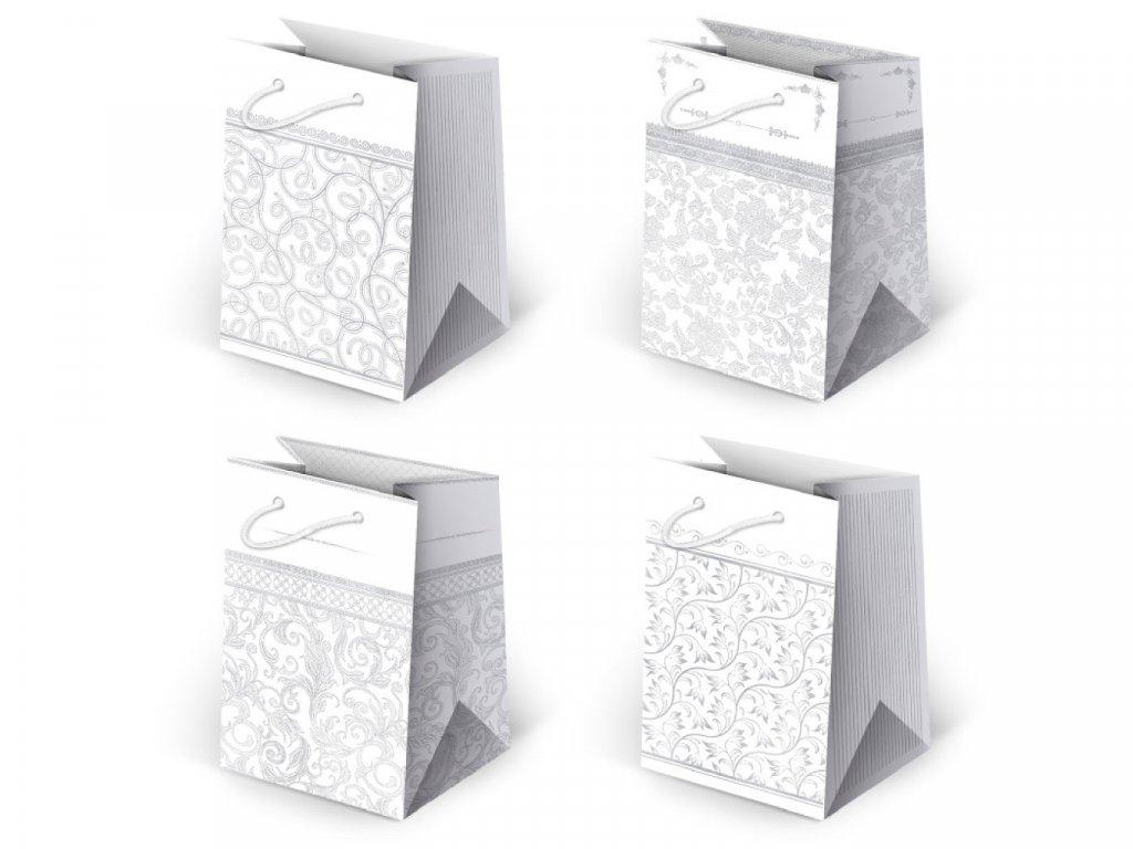 Biele papierové tašky s ornamentami, elegantné tašky, darčekové tašky biele.