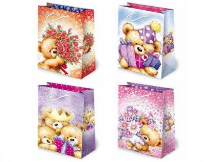 Darčekové tašky detské, taška pre deti, detský motív. Kreslené medvedíky, veselé obrázky.
