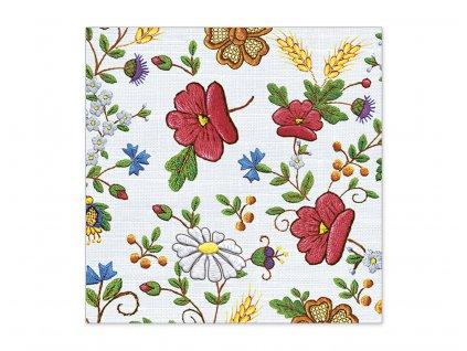 Servítky Ľudový motív - vyšívané poľné kvety