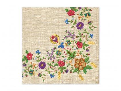 Servítky Ľudový motív - vyšívané kvety