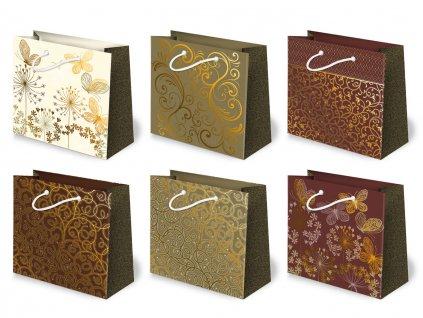 Elegantné tašky, zlatý motív, strieborný motív, farba biela, hnedá, bordová. Dodávame ako mix motívov.