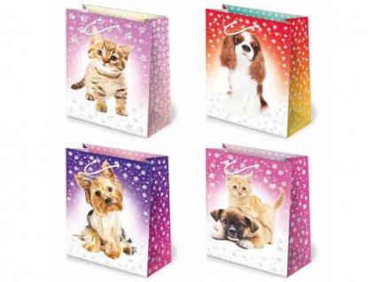 Darčekové tašky detské, taška pre deti, detský motív. Motív - psy a mačky.